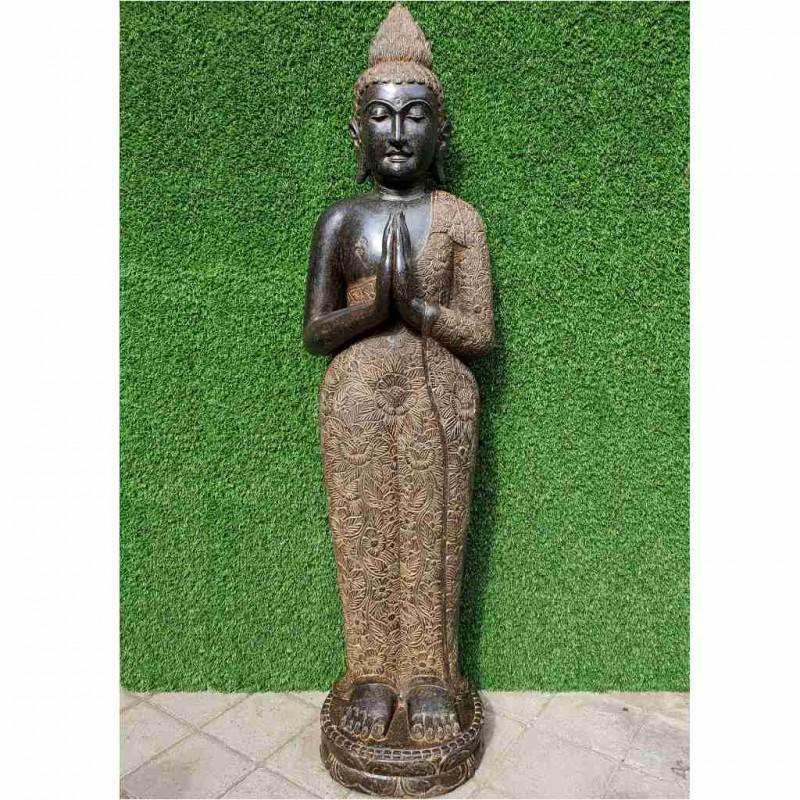 Meisterhafte stehende Buddhastatue Grussgeste Fluss Stein 150 cm