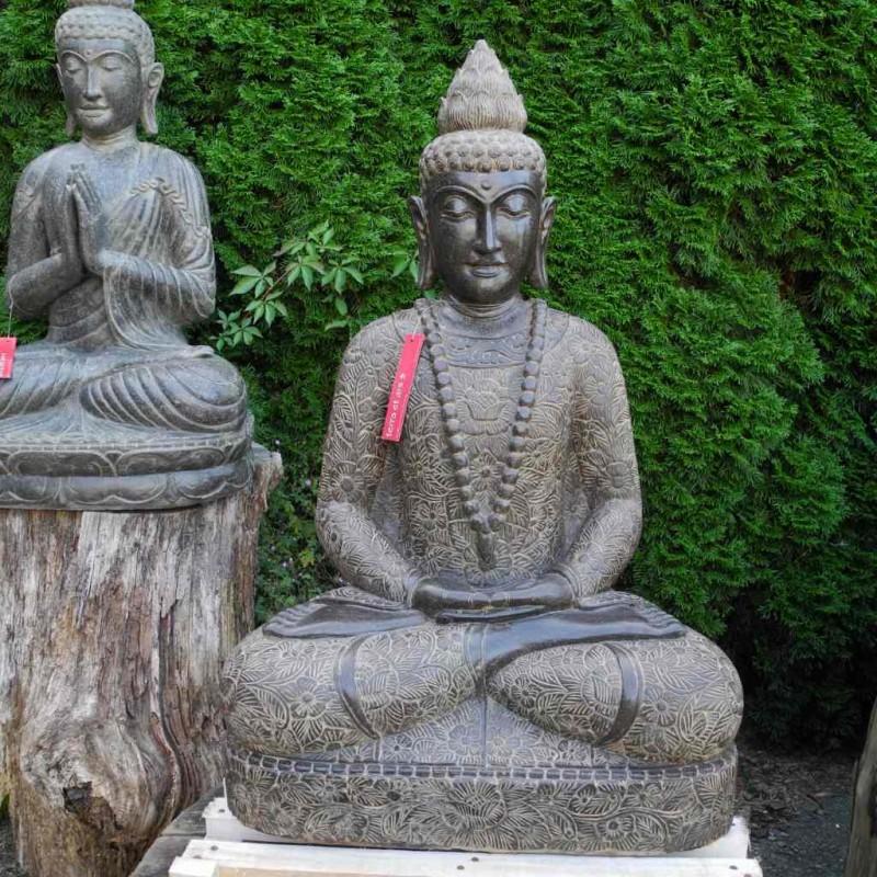 Grosse Buddha Statue mit Mala Fluss Stein 100 cm
