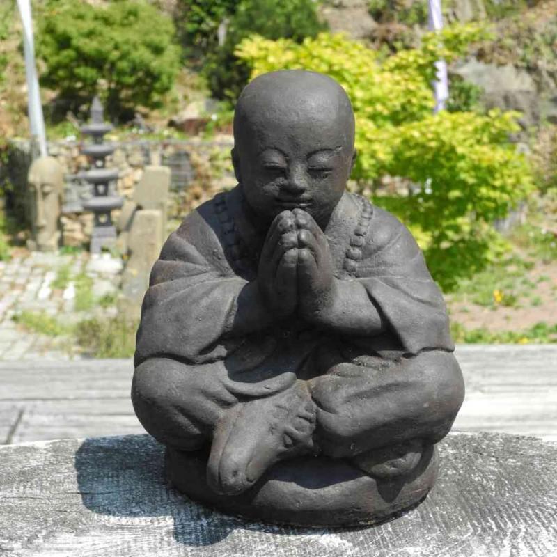 Betender Mönch Statue Stein Guss 27 cm