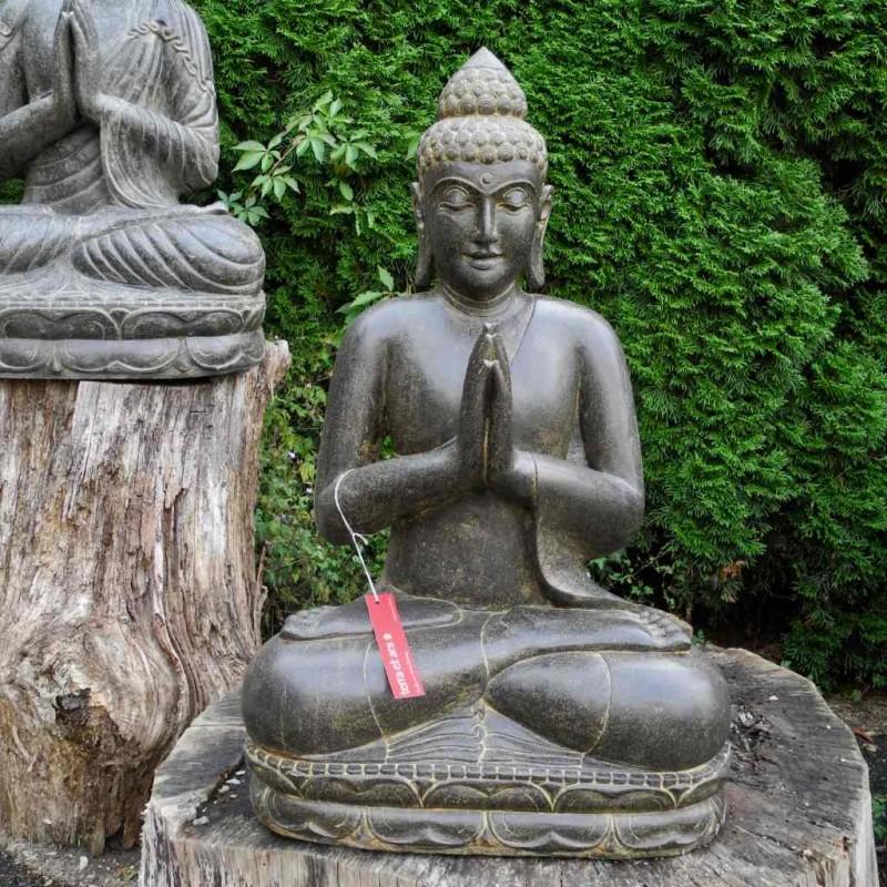 Klassisch-dezente Buddha Figur Grussgeste Fluss Stein 80 cm