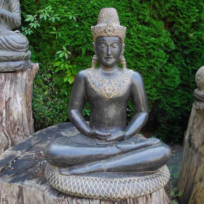 Exklusive Buddha Statue Khmer Stil Fluss Stein 75 cm