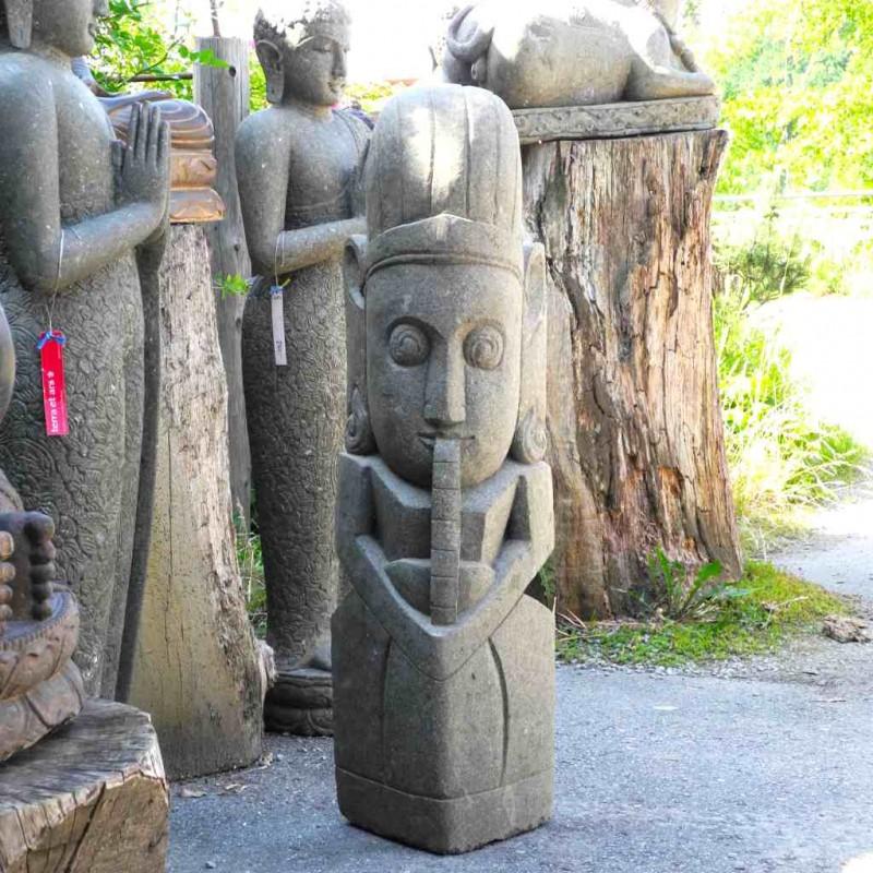Flötenspieler Wächter Figur Garten grüner Lava Stein 120 cm