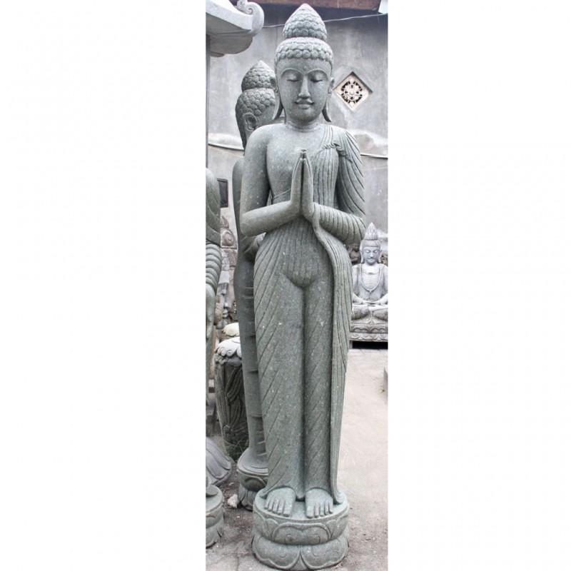 Buddha mit schlanker Silhouette grüner Lava Stein 205 cm