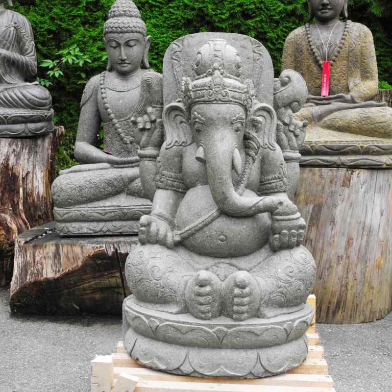 Grosse Ganesha Statue grüner Lava Stein 104 cm