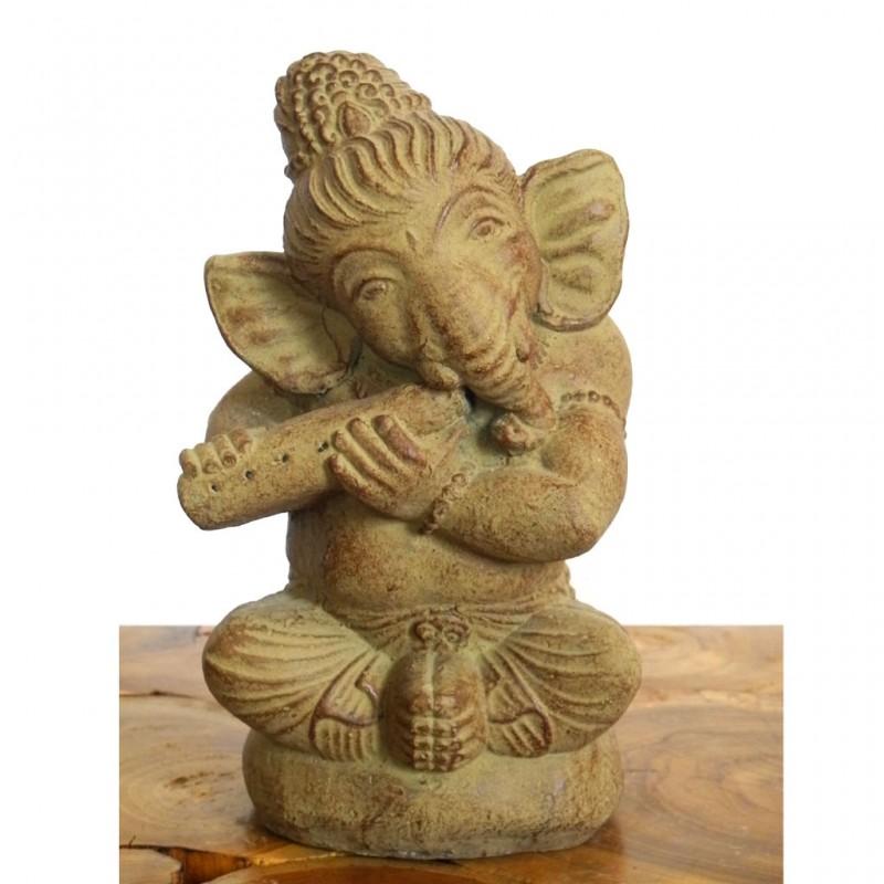 Ganesha Figur mit Flöte Steinguss ocker 23 cm
