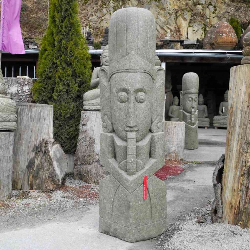 Flötenspieler Wächter Figur Garten grüner Lava Stein 150 cm