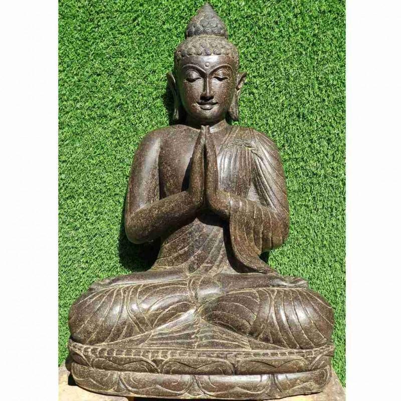 Edle Buddha Statue mit Willkommensgeste Fluss Stein 70 cm