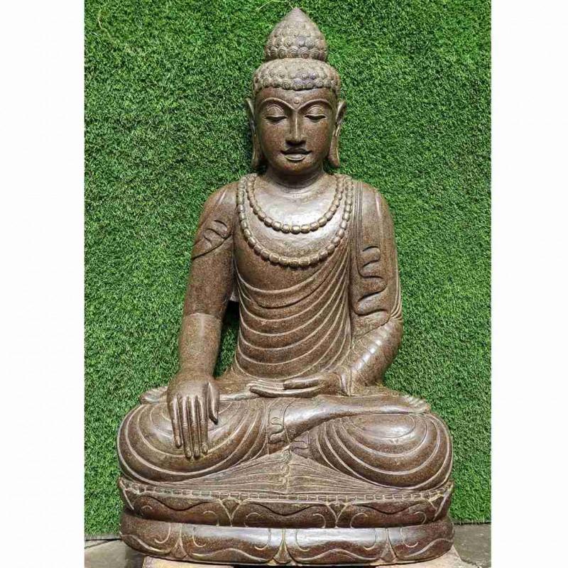 Fluss Stein Buddha mit doppelter Mala 100 cm