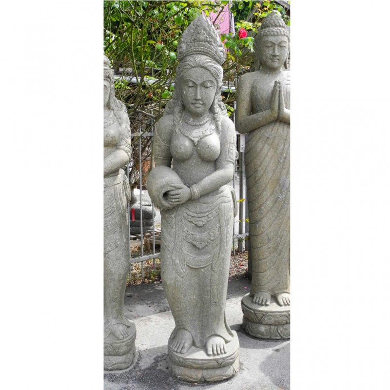 Diadem Dewi mit Krug grüner Lavastein 185 cm