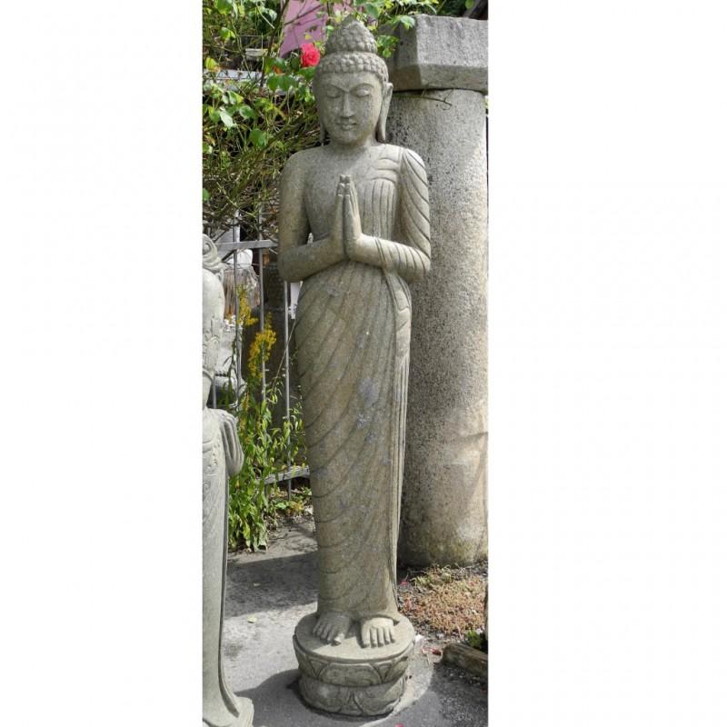 Grosse Buddha Statue mit Grussgeste grüner Lavastein 200 cm