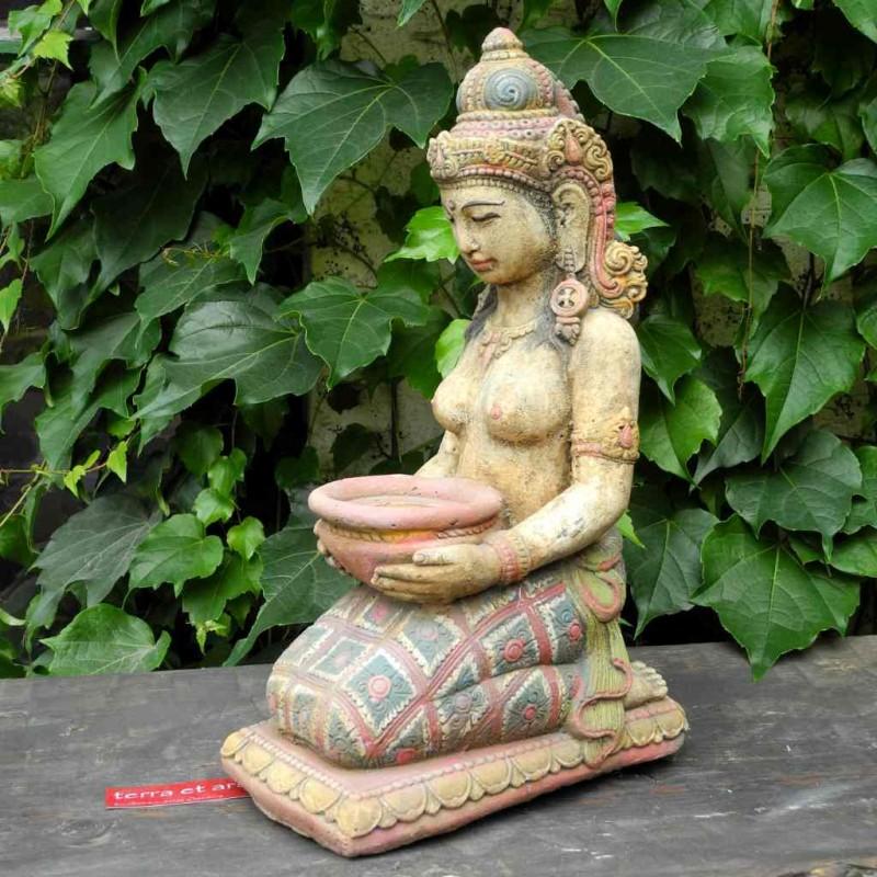 Dewi Figur mit Schale Stein Guss farbig handbemalt 43 cm
