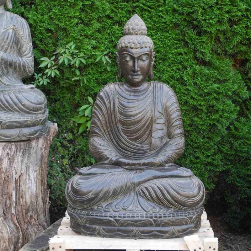 Fluss Stein Buddha Statue mit elegantem Kleid 90 cm