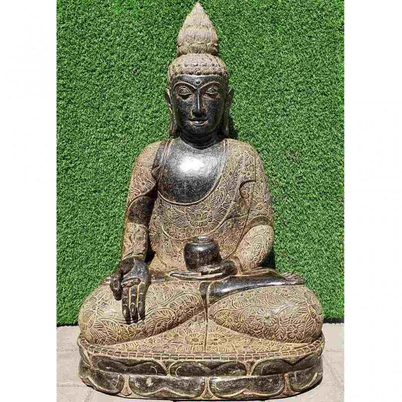 Lotus Buddha mit Medizin Gefäß Fluss Stein 102 cm