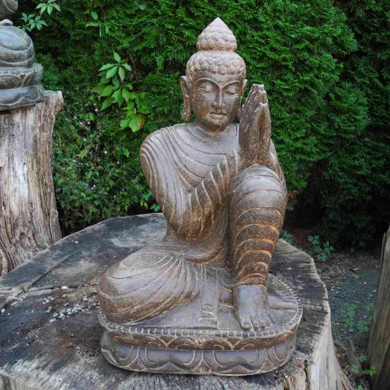 Träumende Buddha Statue links geneigt Fluss Stein 60 cm