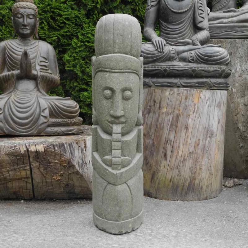 Flötenspieler Wächter Figur Garten grüner Lava Stein 100 cm