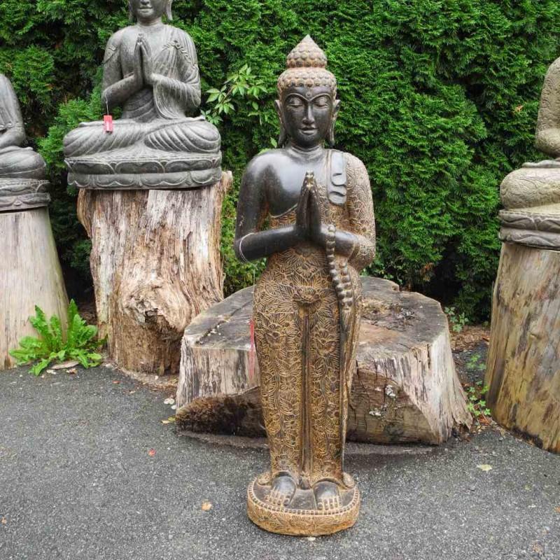 Edle stehende Buddhafigur mit kleiner Mala Fluss Stein 122 cm