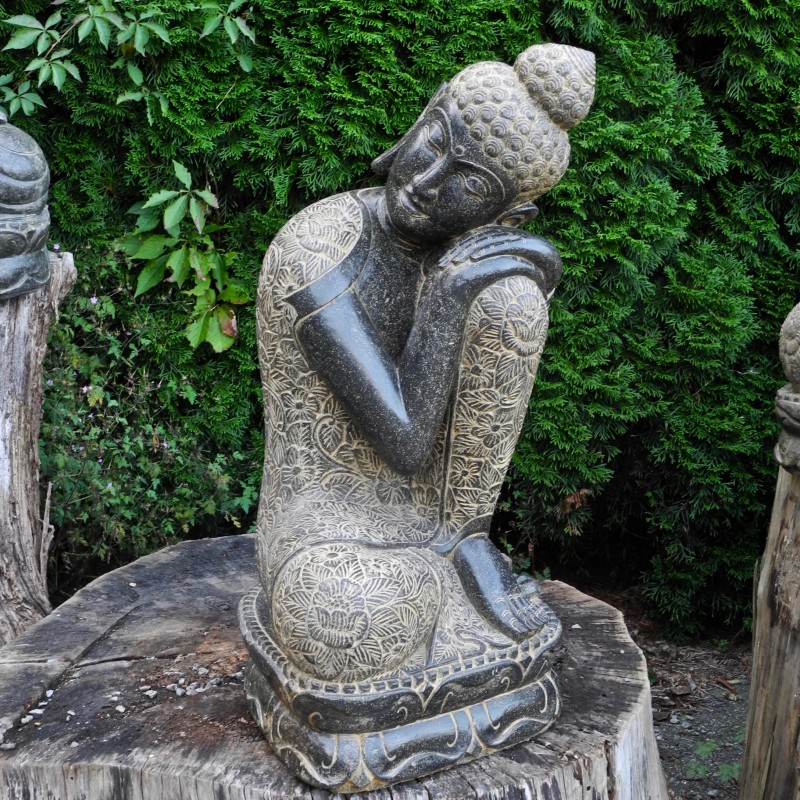 Träumender Buddha links geneigt Fluss Stein 80 cm