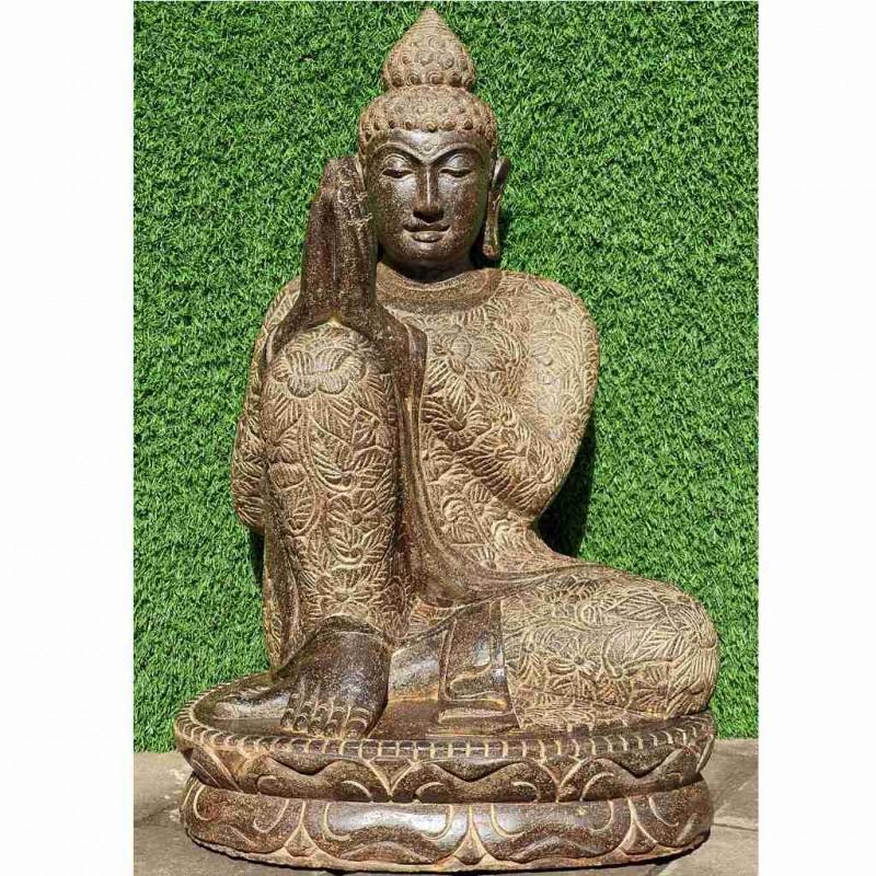Buddha relax rechts geneigt Fluss Stein 70 cm