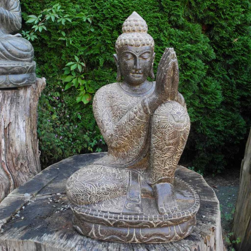 Buddha relax links geneigt Fluss Stein 70 cm