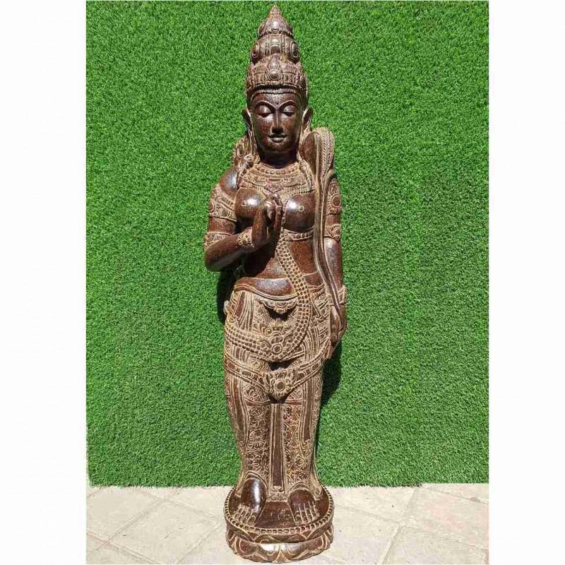 Kostbare stehende Dewi Sri Statue Fluss Stein 130 cm